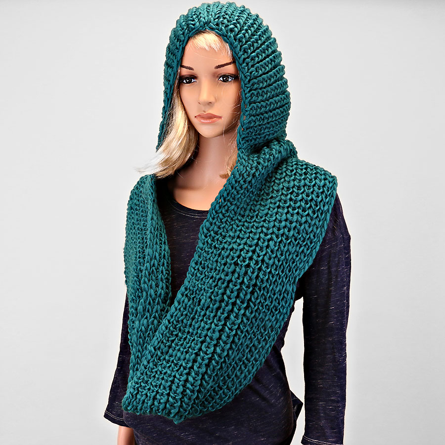 Knitting Pattern Infinity Scarf Hood : Hooded Teal Knitted Infinity Scarf on Luulla